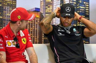 Sebastian Vettel, Ferrari and Lewis Hamilton, Mercedes-AMG Petronas F1 in the press conference