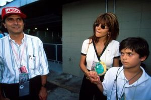 Three times World Champion Nelson Piquet with his wife and son Nelson Piquet Jr.