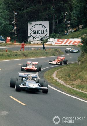 Jackie Stewart, March 701 Ford, leads Chris Amon, March 701 Ford, Jochen Rindt, Lotus 72C Ford and Henri Pescarolo, Matra MS120
