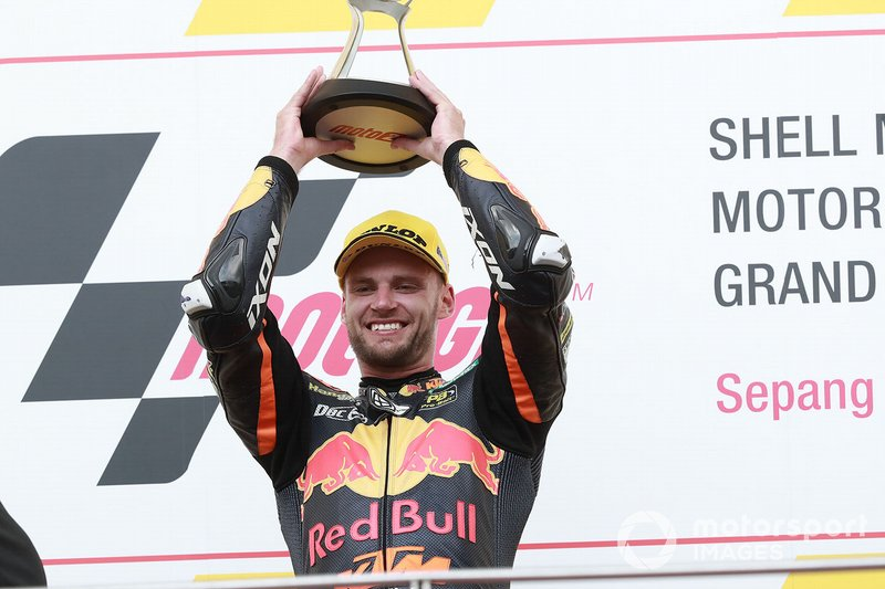Podio: il vincitore della gara Brad Binder, KTM Ajo