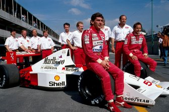 Honda celebrate 50 GP wins, Ayrton Senna and Gerhard Berger, McLaren MP5/B