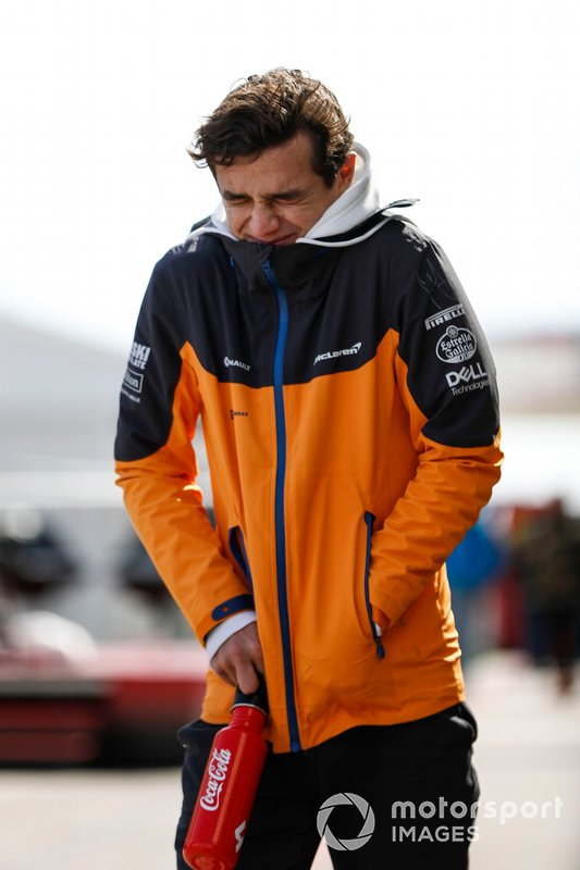 Lando Norris, McLaren, braces himself from the cold