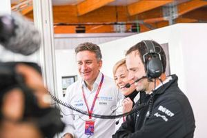 Alejandro Agag, Chairman of Formula E, Susie Wolff, Team Principal, Venturi in the garage