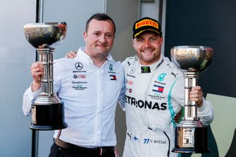 Eric Blandin, Chief Aerodynamicist, Mercedes AMG, and Valtteri Bottas, Mercedes AMG F1, 1st position, with the trophies