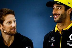 Daniel Ricciardo, Renault F1 Team and Romain Grosjean, Haas F1 In the Press Conference