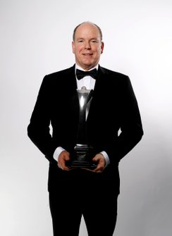 HSH Prince Albert II of Monaco with the Gregor Grant award for the Monaco Grand Prix