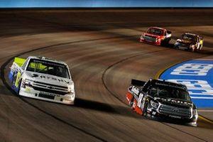 Harrison Burton, Kyle Busch Motorsports, Toyota Tundra Safelite AutoGlass and Tyler Dippel, Young's Motorsports, Chevrolet Silverado Lobas! Productions