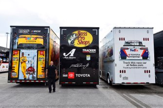 Kyle Busch, Joe Gibbs Racing, Toyota Camry M&M's, Martin Truex Jr., Joe Gibbs Racing, Toyota Camry Bass Pro Shops and Denny Hamlin, Joe Gibbs Racing, Toyota Camry FedEx Express haulers