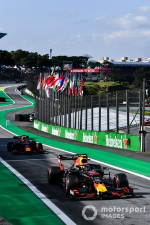 Alexander Albon, Red Bull RB15 leads Max Verstappen, Red Bull Racing RB15
