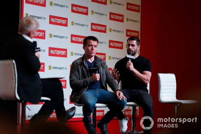 Presenter Alan Hyde interviews Martin Plowman and Kelvin Fletcher on the Autosport stage