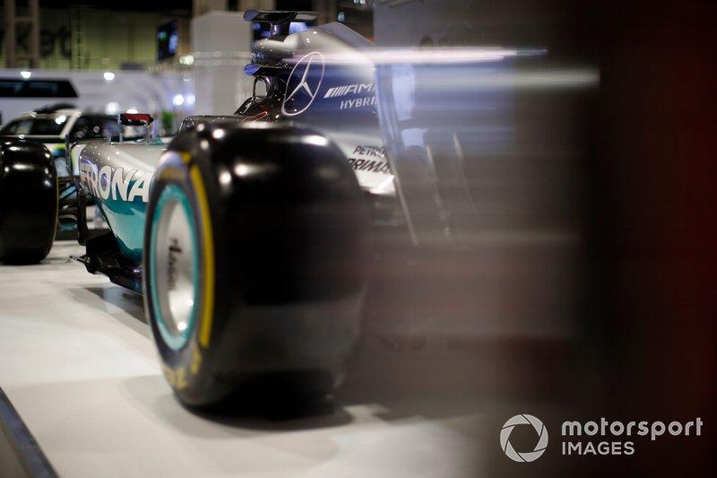 Detalle de la parte trasera del AMG Mercedes-Benz de Lewis Hamilton