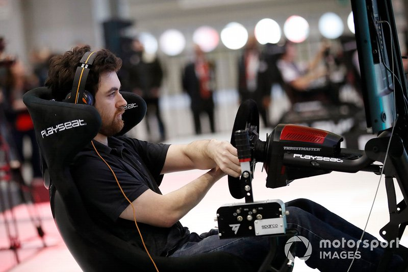 One of the competitors in the Rallycross eSports final