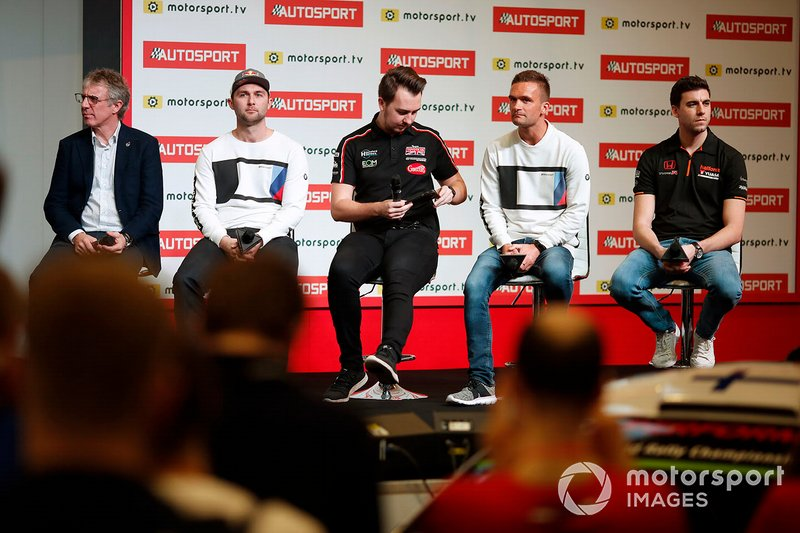 BTCC drivers Jason Plato, Andrew Jordan, Tom Ingram, Colin Turkington and Dan Cammish are interviewed on the Autosport stage