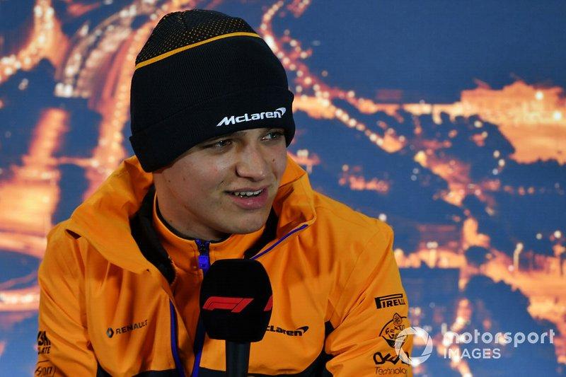 Lando Norris, McLaren, in a press conference