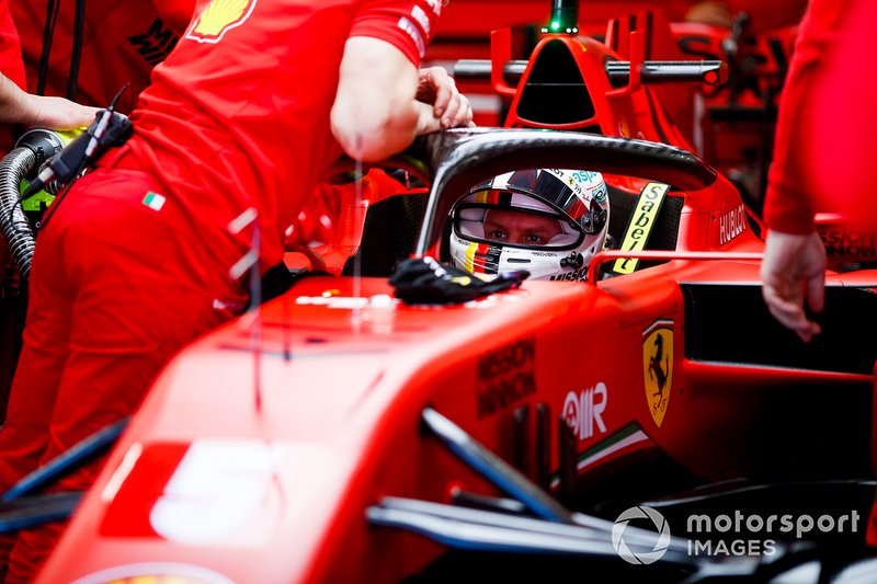 Sebastien Vettel, Ferrari SF1000 in the garage