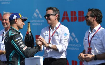 Mitch Evans, Jaguar Racing, 3rd position, with Alejandro Agag, Chairman of Formula E on the podium