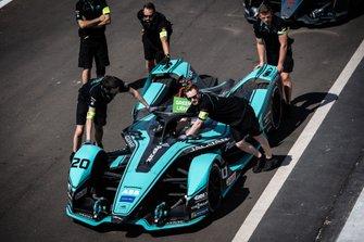 Mechanics push the Mitch Evans, Jaguar Racing, Jaguar I-Type 4 through the pit lane