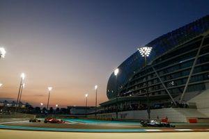 Valtteri Bottas, Mercedes AMG W10, leads Sebastian Vettel, Ferrari SF90, and Alexander Albon, Red Bull RB15