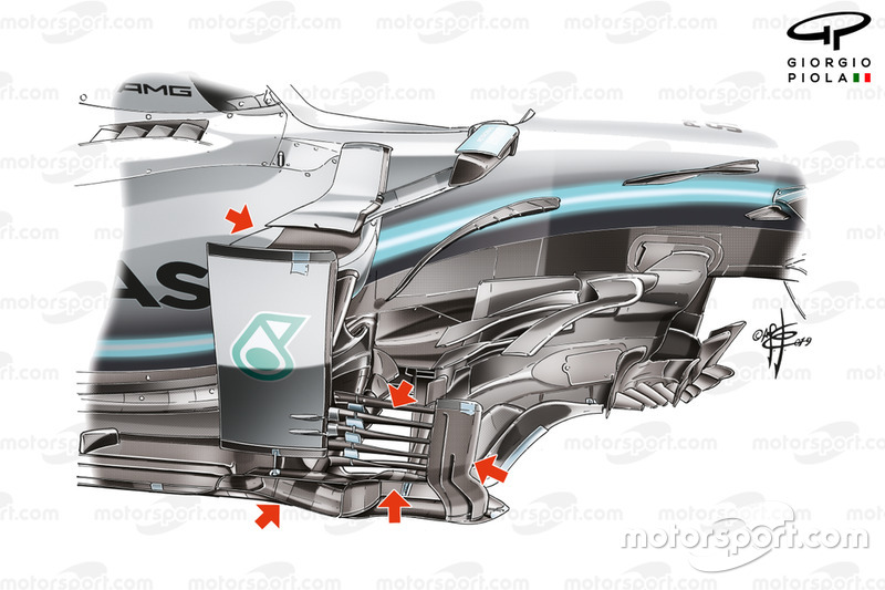 El bargeboard del Mercedes AMG F1 W10 en el GP de Japón