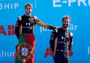 Race winner Antonio Felix da Costa, DS Techeetah celebrates on the podium with teammate Jean-Eric Vergne, DS Techeetah, 3rd position