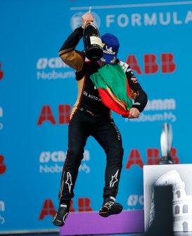 Antonio Felix da Costa, DS Techeetah, 2nd position, celebrates on the podium