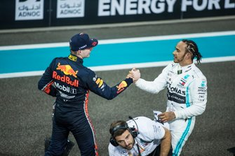 Max Verstappen, Red Bull Racing, 2nd position, congratulates Lewis Hamilton, Mercedes AMG F1, 1st position, after the race
