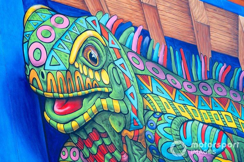 Some artwork of a chameleon