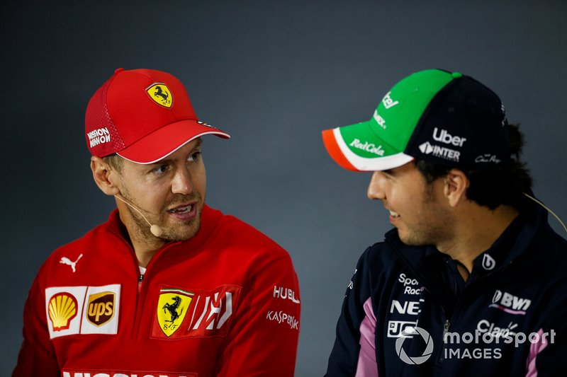 Sebastian Vettel, Ferrari e Sergio Perez, Racing Point, in conferenza stampa