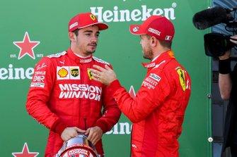 Charles Leclerc, Ferrari, et le poleman Sebastian Vettel, Ferrari
