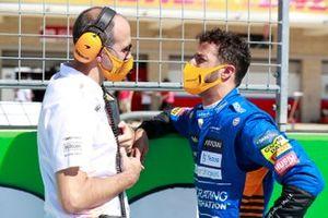 Daniel Ricciardo, McLaren, on the grid with his engineer
