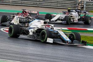 George Russell, Williams FW43, Kimi Raikkonen, Alfa Romeo Racing C39, and Pierre Gasly, AlphaTauri AT01