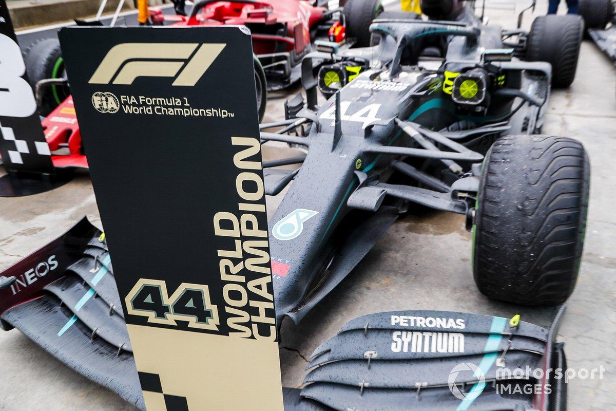 The car of Lewis Hamilton, Mercedes F1 W11, 1st position, in Parc Ferme