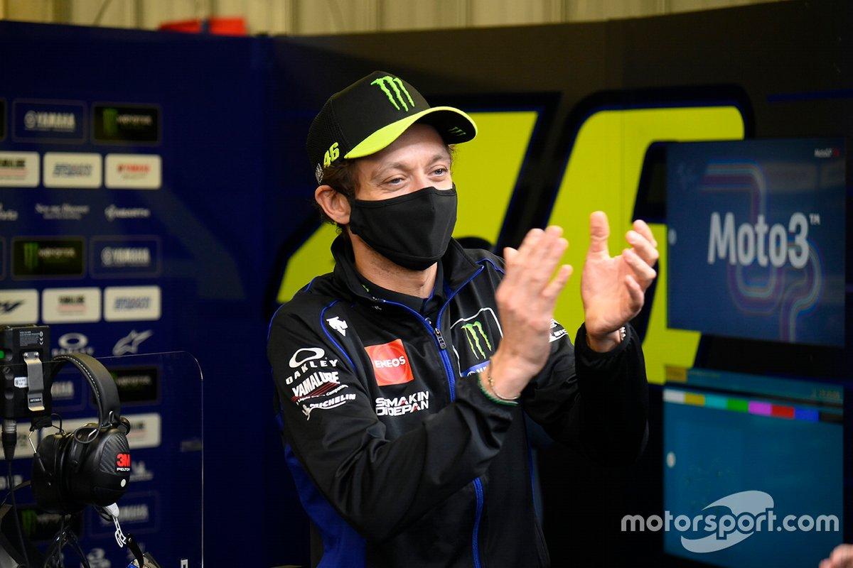 Valentino Rossi en el evento de despedida de Yamaha Factory Racing.