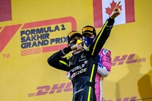 Esteban Ocon, Renault F1, 2nd position, celebrates on the podium