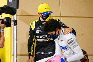 Esteban Ocon, Renault F1, 2nd position, with Lance Stroll, Racing Point, 3rd position, in Parc Ferme
