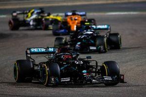 George Russell, Mercedes F1 W11, Valtteri Bottas, Mercedes F1 W11, Carlos Sainz Jr., McLaren MCL35, and Daniel Ricciardo, Renault F1 Team R.S.20