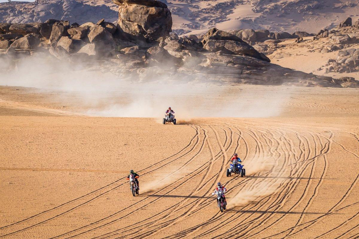 #76 Bo!Beton Team KTM: Roman Krejgi, #50 Hero Motorsports Team Rally: C. S. Santosh, #150 Dragon Rally Team Yamaha: Nicolas Cavigliasso, #163 MX Devesa by Berta Yamaha: Pablo Copetti
