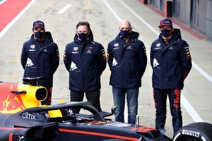 Sergio Perez, Red Bull Racing, Red Bull Racing Team Principal Christian Horner, Adrian Newey, the Chief Technical Officer of Red Bull Racing, Max Verstappen, Red Bull Racing
