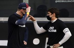 Max Verstappen, Red Bull Racing, talks with Pietro Fittipaldi, Haas F1