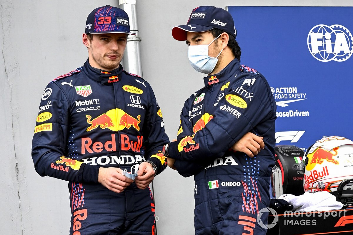 Max Verstappen, Red Bull Racing, Sergio Pérez, Red Bull Racing in Parc Ferme