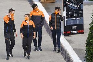 Lando Norris, McLaren and Carlos Sainz Jr., McLaren in the paddock