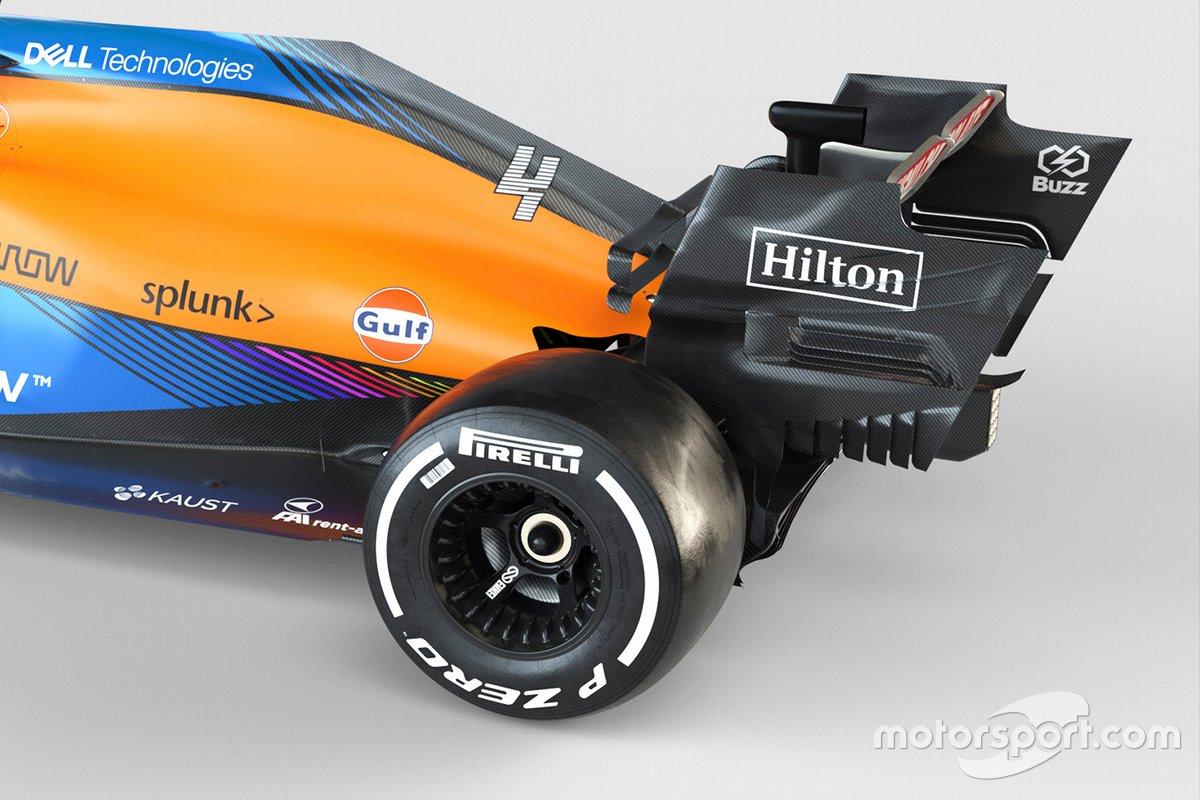 Detalle trasero del McLaren MCL35M