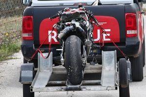 Takaaki Nakagami, Team LCR Honda's crashed bike