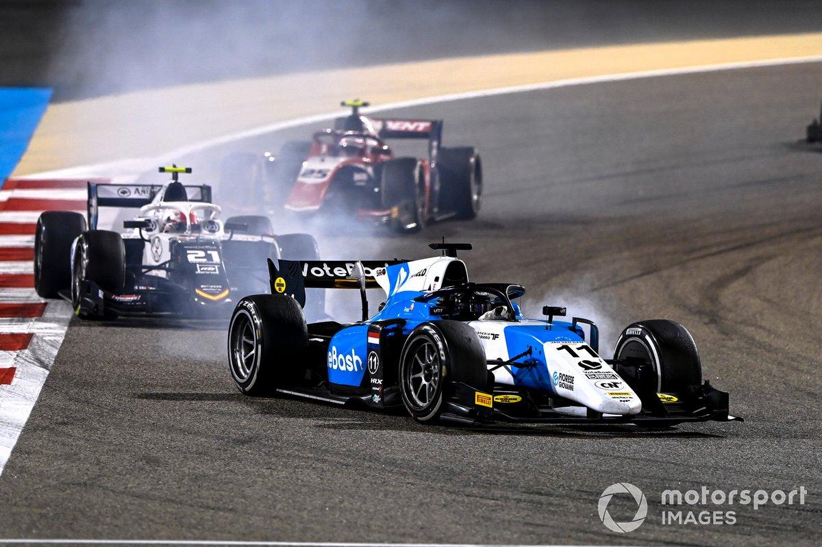Richard Verschoor, MP Motorsport, precede Ralph Boschung, Campos Racing, e Marino Sato, Trident