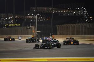 Lewis Hamilton, Mercedes F1 W11, Max Verstappen, Red Bull Racing RB16 and Sergio Perez, Racing Point RP20