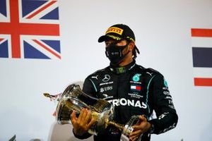 Lewis Hamilton, Mercedes-AMG F1, 1st position, with his trophy