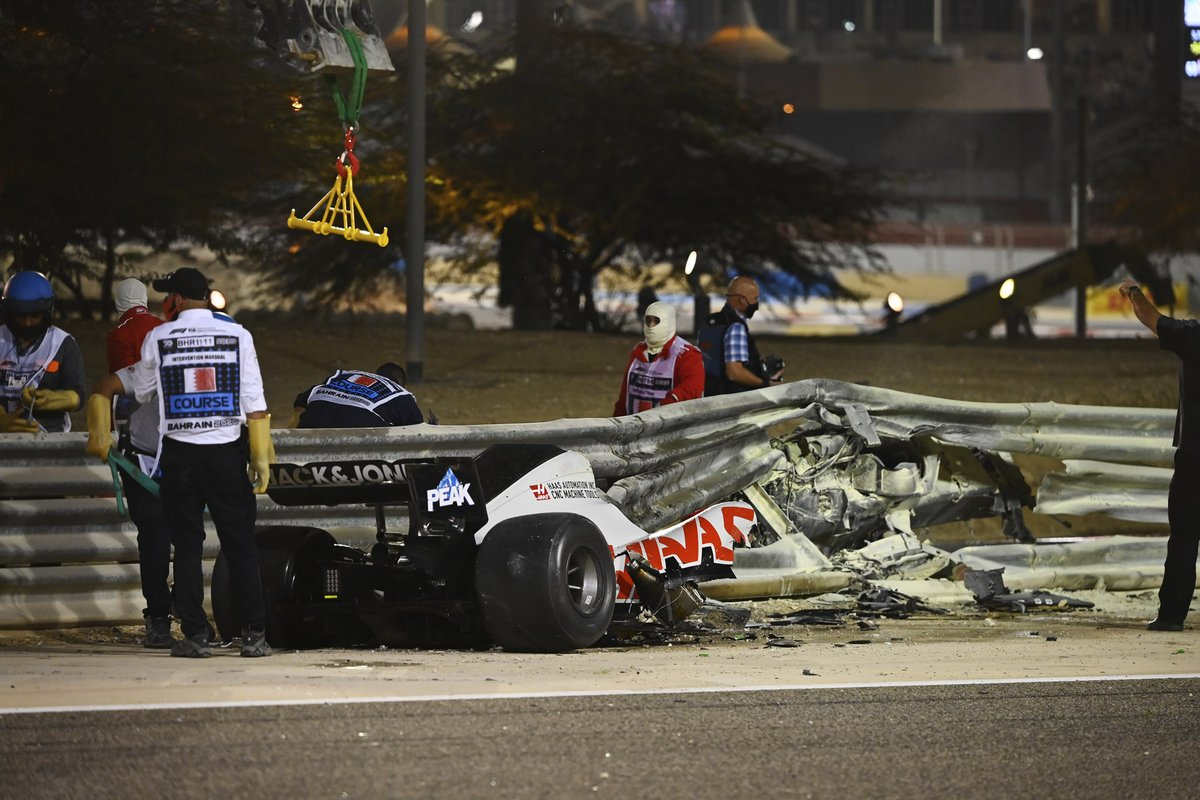 The wreckage of the Romain Grosjean Haas VF-20 after a horrific accident on the opening lap of the Bahrtain Grand Prix. The car punctured a hole through the armco barrier and exploded into flames