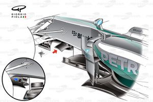 Mercedes W05 wing detail