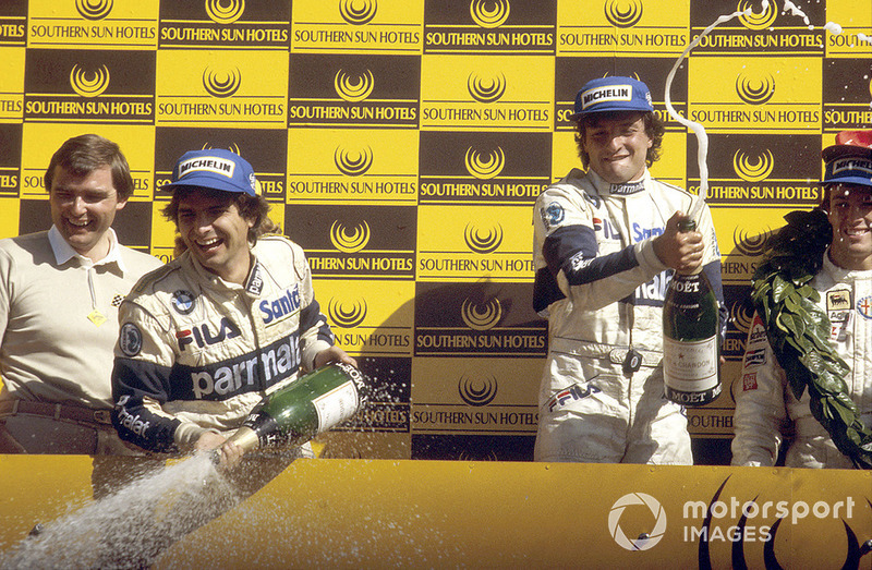 Podium: race winner Riccardo Patrese, Brabham BMW, third place Nelson Piquet, Brabham BMW
