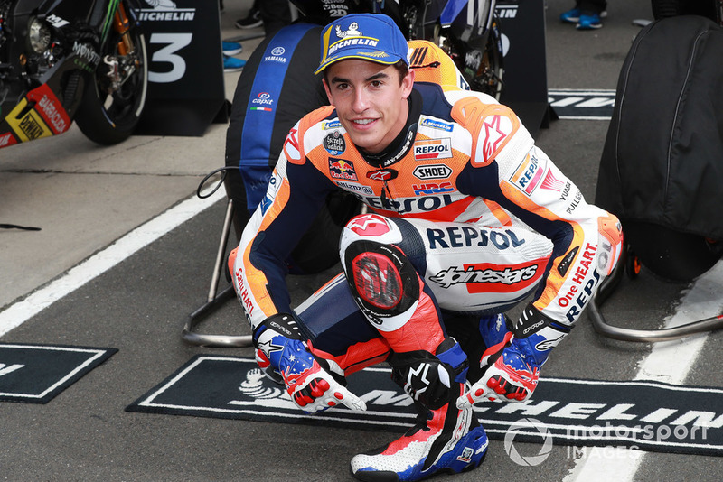 Polesitter Marc Marquez, Repsol Honda Team with Mick Doohan boots and gloves